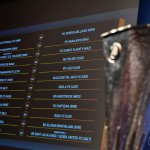 NYON, SWITZERLAND - JUNE 20: A view of the draw results as shown on the big screen following the UEFA Europa League 2018/19 First Qualifying Round draw at the UEFA headquarters, The House of European Football on June 20, 2018 in Nyon, Switzerland. (Photo by Harold Cunningham - UEFA/UEFA via Getty Images)